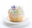 Fancy tart or cupcake topping with icing flower