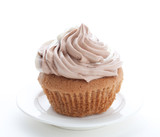 Eatable cupcake with mouse cream isolated poster