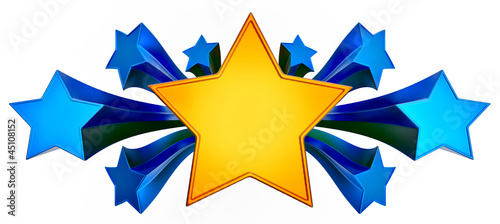 set of nine shiny gold stars in motion
