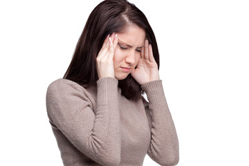 Unhappy young woman with bad headache.  Awful migraine