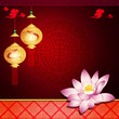 Oriental pattern: lantern and lotus with space for text or image