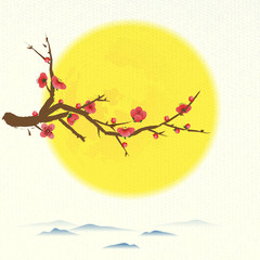 Plum tree flowering with round moon and ideogram of family reuni