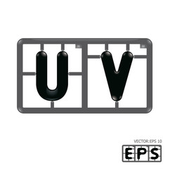 Letter uv model-kit alphabet vector