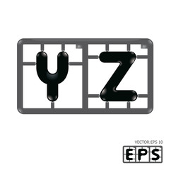 Letter yz model-kit alphabet vector