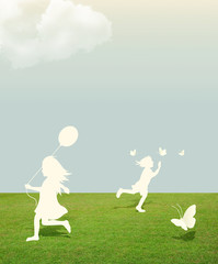 silhouette of girl and boy playing with butterfly and Balloon  u