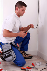 Electrician preparing wiring
