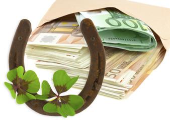 argent, fer à cheval et trèfles à quatre feuilles