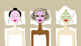 Fototapety Pretty women with cosmetic mask on faces in spa salon
