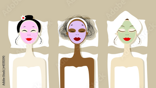 Pretty women with cosmetic mask on faces in spa salon