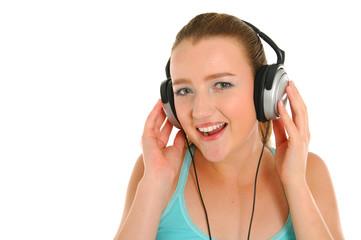 happy women listening music in headphones