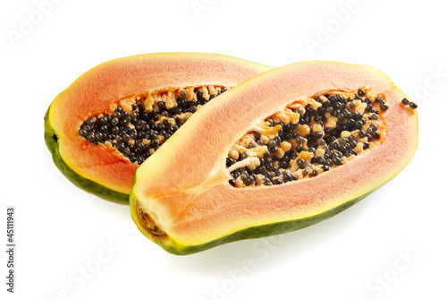 Halved papaya