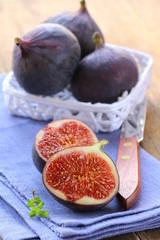 sweet fruit ripe figs on a wooden board