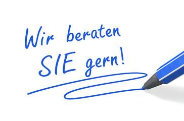 Stift- & Schriftserie: Wir beraten SIE gern! blau