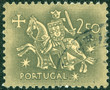 Постер, плакат: stamp printed in Portugal shows Equestrian Seal of King Denis
