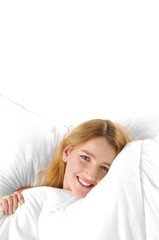 young happy woman on bed