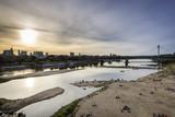 Warsaw city during sundown with Vistula river - 45113709