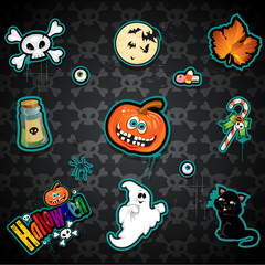 Set seamless Halloween black background decorated