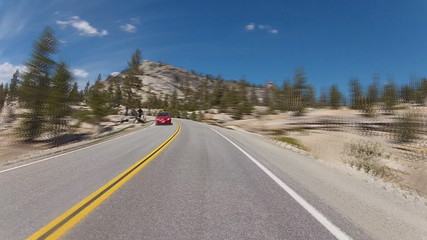 Driving in Yosemite, time-lapse