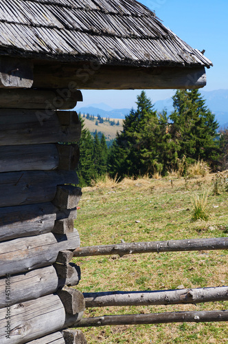 External view of an old wooden stable in mountain