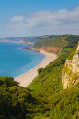 Branscombe beach and Devon coast looking towards Sidmouth