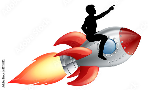 Businessman riding rocket ship