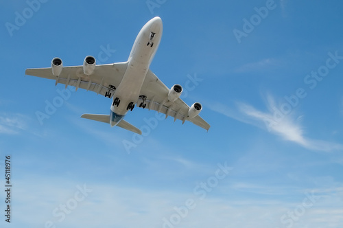 jet aircraft on take-off or landing in blue sky