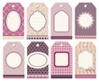 8 Retro Hangtags Pink/Purple/Beige