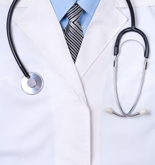 doctors lab white coat with stethoscope. Close up
