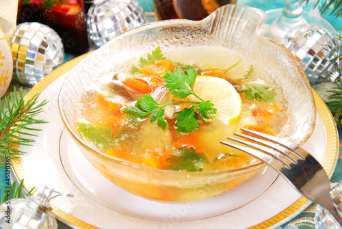 carp in jelly with carrot and parsley for christmas
