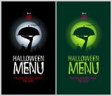 Halloween Menu Cards Design template set.