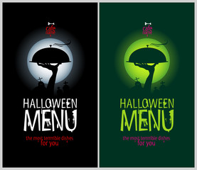 Halloween Menu Cards Design template set.