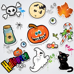 Set Halloween stickers