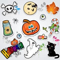 Set Halloween stickers