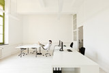 interior, office with modern furniture, man relaxes