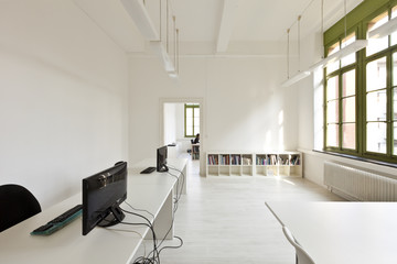 interior old building, office with modern white furniture