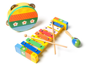 Tambourine, rattle and xylophone