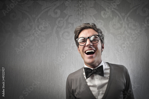 Fashionable Man Laughing