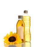 oil in jars and sunflower, isolated on white