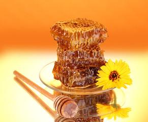 Honeycomb on orange background