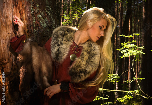 Scandinavian  girl  with fur skins