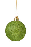 Green Christmas Ball hanging from golden string Isolated on whit