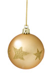 Gold Christmas Ball Hanging Over White Background.