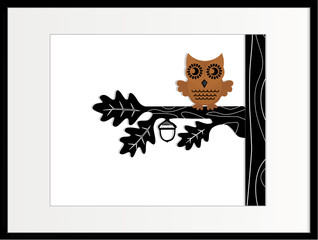 framed brown owl in tree