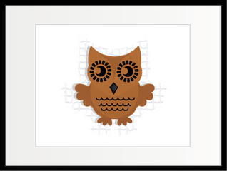 brown wooden owl in frame