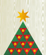 Christmas tree wooden textured shape greeting card