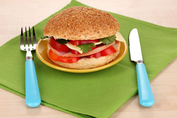 Appetizing sandwich on color plate isolated on white