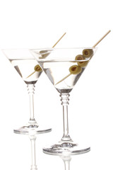 Martini glasses and olives isolated on white