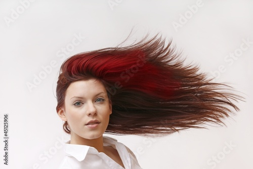 woman with red color in the hair