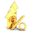 shiny golden percent symbol with grow up arrows