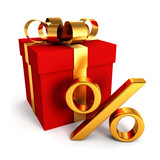 red gift box with golden percent sign on white background